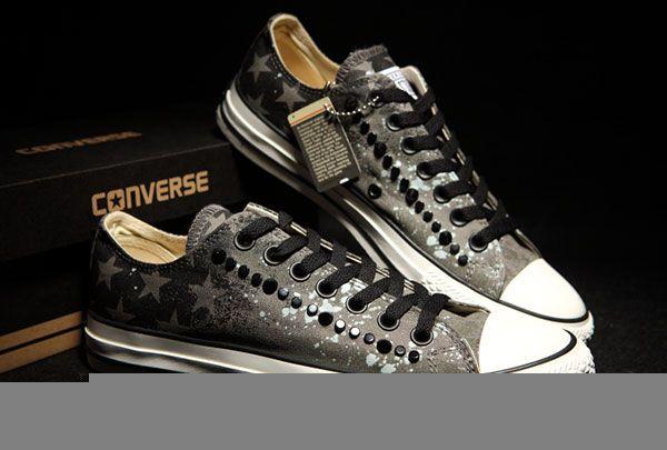 b3ffc9cda1c4 Grey Graffiti American Flag Converse Studded Mens Chuck Taylor All Star Low  Tops Sneakers  converse  shoes