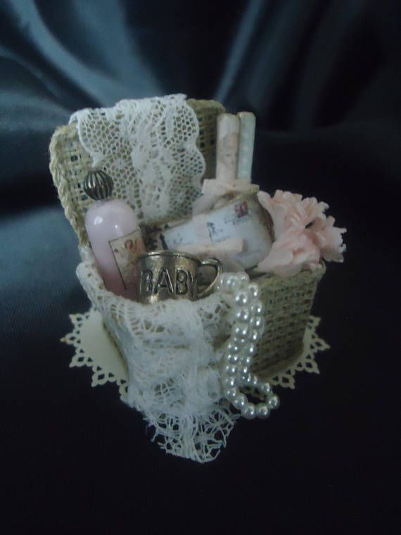 Cute filled basket 1/12th scale  Pink
