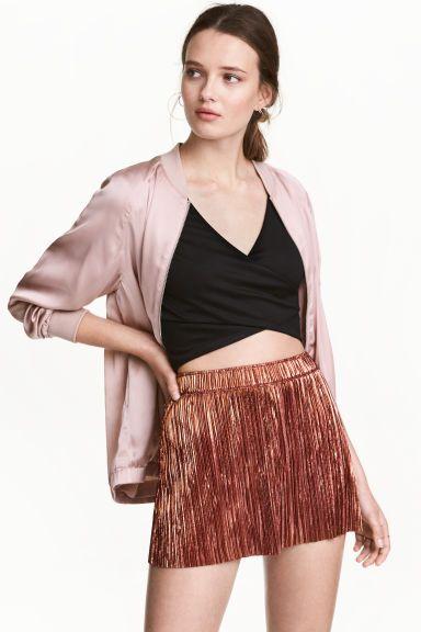Плиссированные шорты - Терракота - Женщины | H&M RU 1