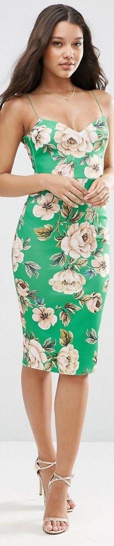 ASOS Floral Deep Plunge Strappy Scuba Midi Dress