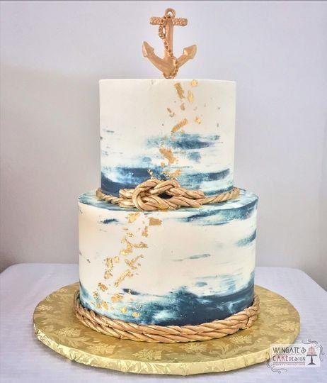 Hochzeitstorte aus nautischem Blattgold + Dekor aus Seil und Anker – Hochzeitsthema nautisch …   – Wedding Cakes