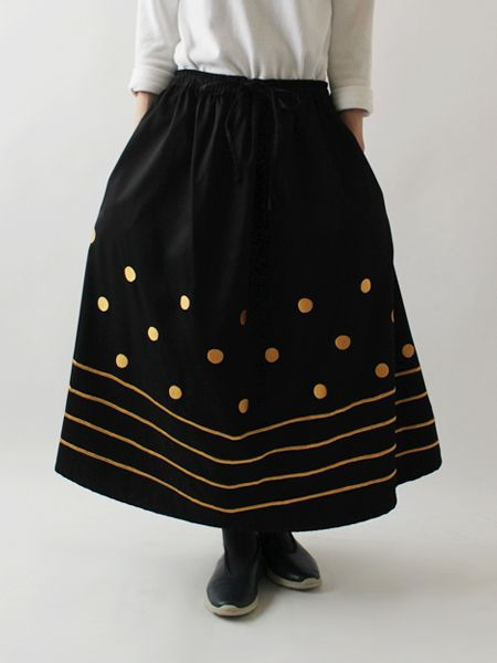 ■anvaiだけの手しごと小紋刺繍+台形スカート+ミモレ丈+B63m_画像4