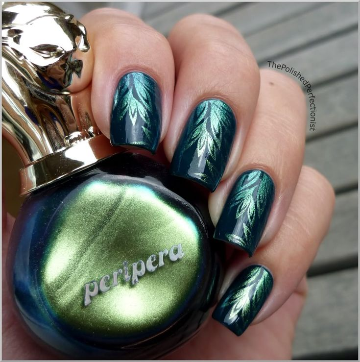 The Polished Perfectionist:    Dangerous Duochrome, green metallic stamped nail art. Manicure.