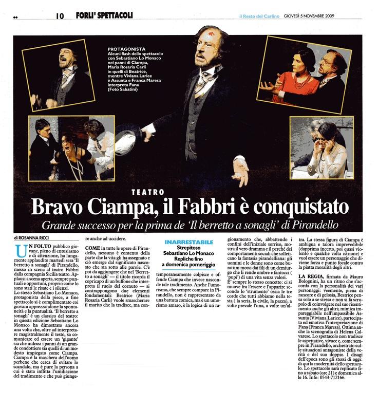 """5 novembre 2009 - Il Resto del Carlino - Rosanna Ricci su """"Il Berretto a Sonagli"""""""
