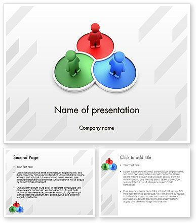 3D Men on RGB Platforms PowerPoint Template