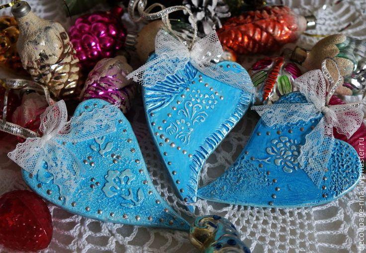 Купить Новогоднее украшение. Набор сердечек. Винтаж. Голубая нежность - новый год 2016, подарки на новый год
