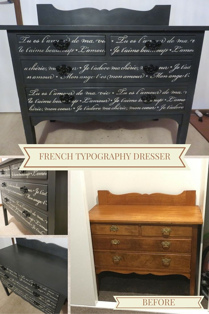 This cute dresser was given a little Parisian chic with the addition of French lettering stencilled in Old White chalk paint over base of Graphite chalk paint. Handles spray painted a gloss black.