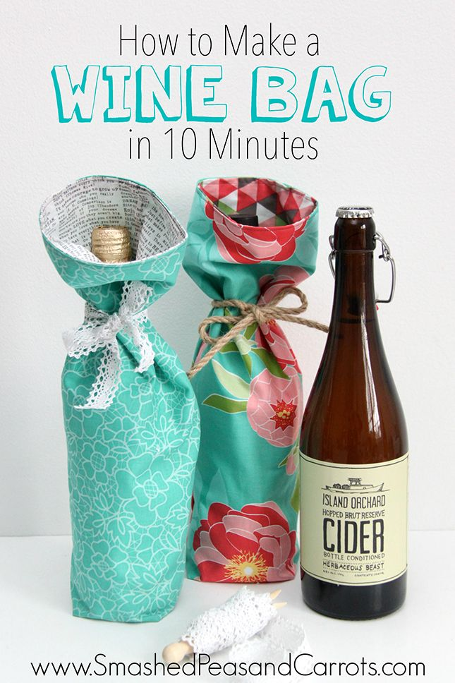 "How to Make a Wine Bag in 10 Minutes with 2 pcs 12"" x 16"" and a tie."