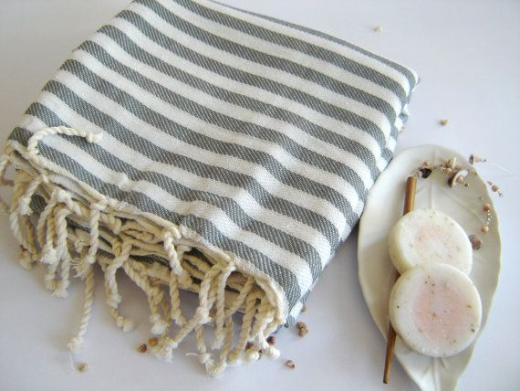 Premium Turkish Towel, Peshtemal, beach towel, hammam towel, bath towel, picnic towel, Spa Towel, Gray Striped. $24.00, via Etsy.