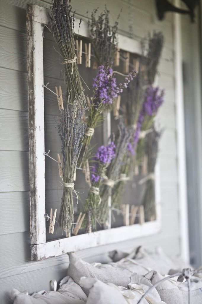 drying lavender and decorating my porch - lovely