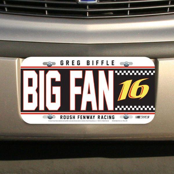 Greg Biffle WinCraft Big Fan Plastic License Plate