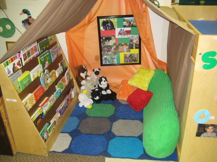 Cozy reading spot in a toddler classroom - from Raleigh Court Presbyterian Preschool