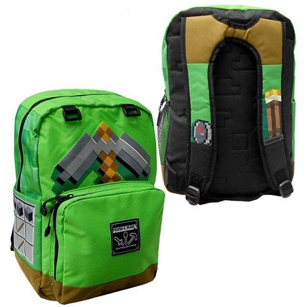 Minecraft skoletaske med økse som motiv på den ene side og en fakkel på den anden side