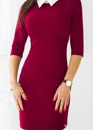 Kup mój przedmiot na #vintedpl http://www.vinted.pl/damska-odziez/krotkie-sukienki/16545692-sliczna-bordowa-sukienka-38-40-bialy-kolnierzyk