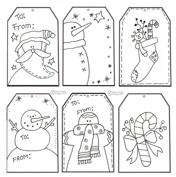 Free Color Your Own Christmas Tag Printable- for when the kids wrap their parent gifts?