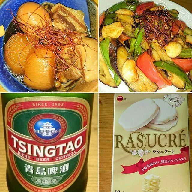 . . .  #晩ごはん  #豚の角煮  #青島ビール 🍺 .  #野菜炒め  #おやつ  #お菓子  #チョコ 🍫 .  #ラスク  #ビール  #中華料理  #中華 🍺 .  #角煮  #豚  #肉  #デブ活  #デザート 🍫 .  #よっぱらい  #ヨッパッピー  #乾杯 🍻 .  #dinner  #pork  #meat  #chinesefood 🍺 .  #beer  #vegetables  #vegetable 🍻