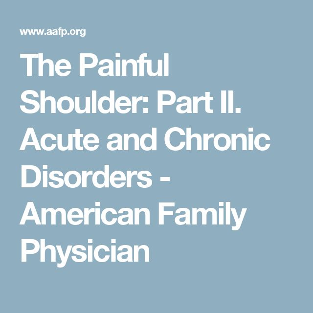 The Painful Shoulder: Part II. Acute and Chronic Disorders - American Family Physician