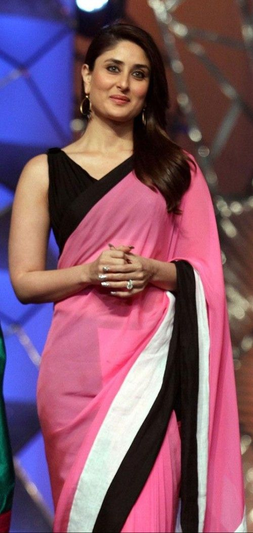 the pink and black saree that Kareena Kapoor is wearing