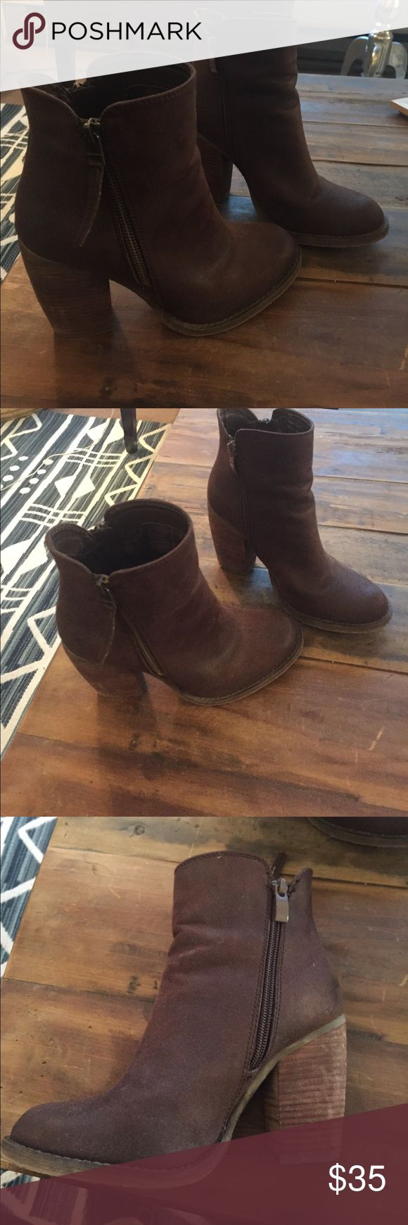 Women's booties Super cool and cute brown booties with two size zips- one on each side of shoe. Only worn one time- just didn't fit me. Perfect with dresses, jeans, leggings- everything! An every day go-to shoe! Shoes Ankle Boots & Booties
