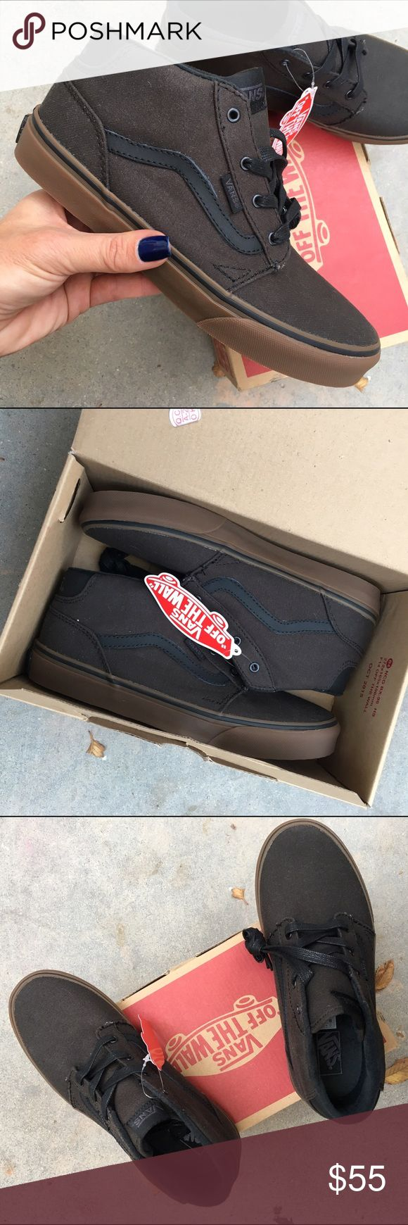 NWB 🎁 VANS 'CHAPMAN' mid top size 5 youth NEW never worn Vans 'Chapman' brown waxed canvas upper. Size 5 youth  Ships same or next day from my smoke free home w/ original box. Perfect for gift giving! 🎁  Bundle items to save.   PRICE FIRM. 100% authentic product purchased directly from NIKE Vans Shoes Sneakers