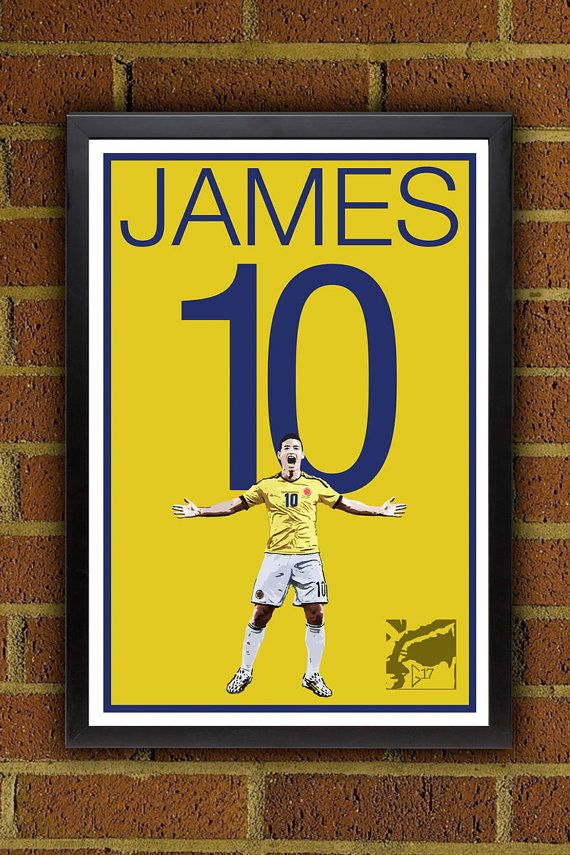 James Rodriguez 10 Colombia Football  Poster #homedecor #colombia #soccer #futbol