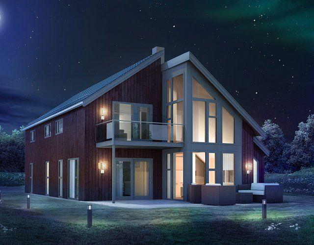 Nova, høy glassfasade og åpent mellom etasjene   Norgeshus