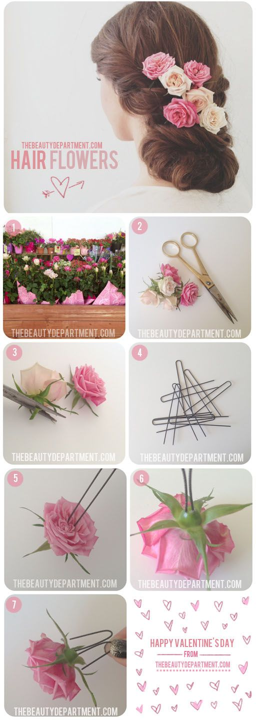 Lately I am really into the sweet, fresh, summery look of flowers pinned into hair, and this tutorial from The Beauty Department is perfect.