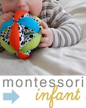 Some really great ideas for applying the montessori approach with a baby - his/her own shelf for snacks and water, discovery baskets, simple but cool toys, artwork, and more