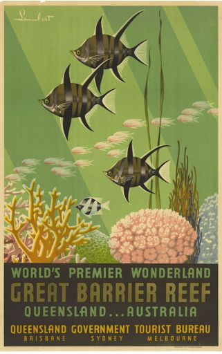 hollyhocksandtulips:  Queensland, Australia travel poster, 1939   World's Premier Wonderland, Great Barrier Reef, Queensland…Australia. Painted design featuring underwater reef scene, ca. 1939  See also http://thefashionarchives.org/?fashion_smarts=tropical-fashion-mid-century-modern-style-in-the-sunshine-state