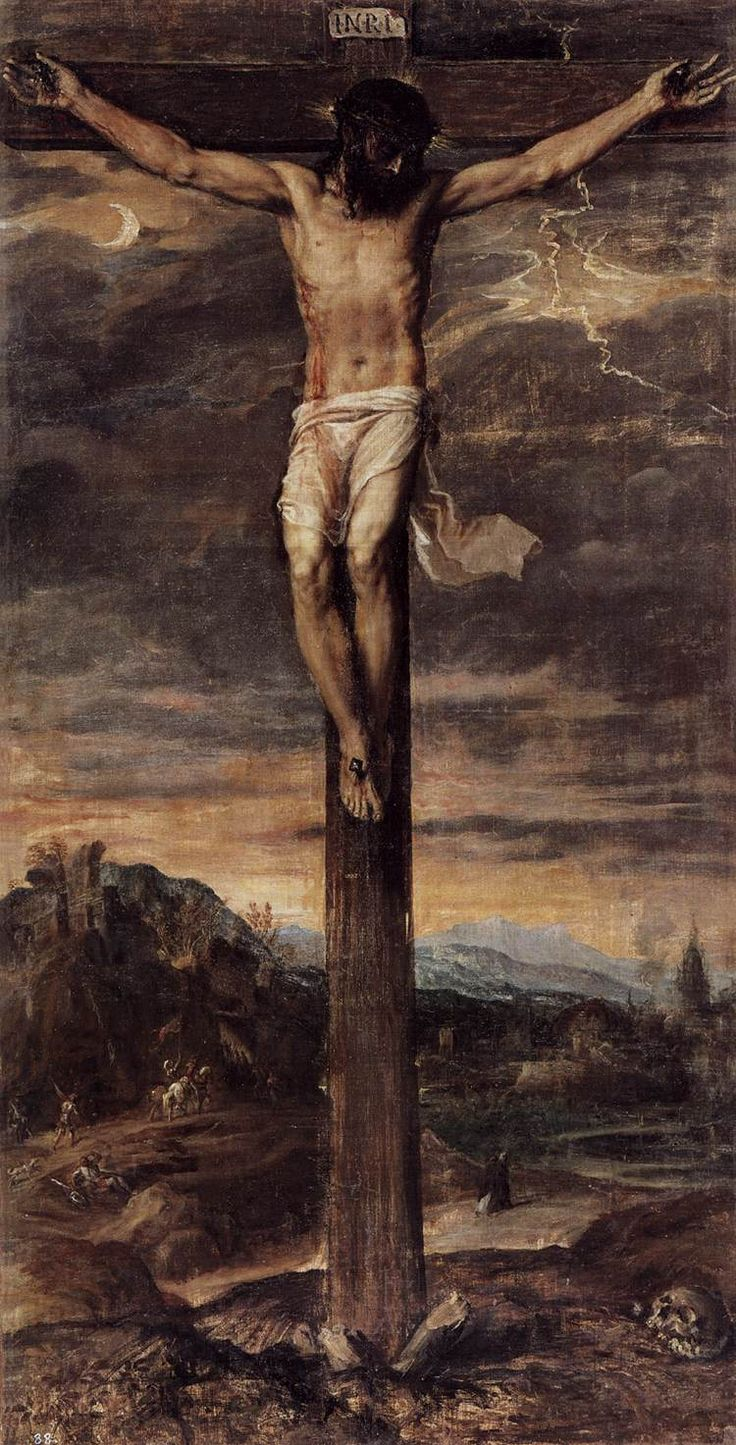 Crucifixion, by Titian, circa 1555, oil on canvas, height: 214 cm (84.3 in), width: 109 cm (42.9 in), located at the Monasterio de San Lorenzo, El Escorial.