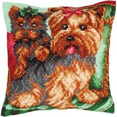 "Dogs On The Armchair Stamped Cross Stitch Pillow Cushion Kit 16"" x 16"""