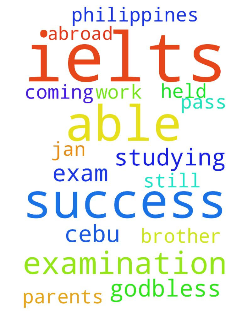 Please help me pray for the success of my ielts examination -  Please help me pray for the success of my ielts examination this coming Jan. 20 and 21, 2017 which will be held in Cebu Philippines. I need to pass this exam so that I will be able to work abroad and be able to help my parents and my brother who is still studying. Thank you and Godbless.  Posted at: https://prayerrequest.com/t/sEy #pray #prayer #request #prayerrequest