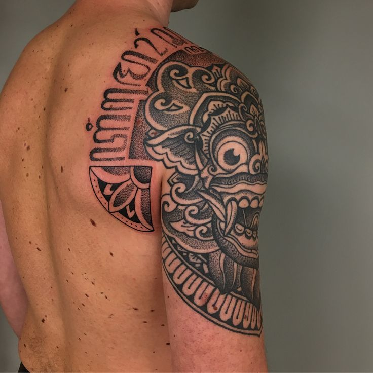Terima Kasih Pak Duncan Inspired By Barong Mask Javanese Wood Carvings And Aksara Jawa Hanacaraka Script Don Sevenseas Tattoos Desain Tato Tato Gambar