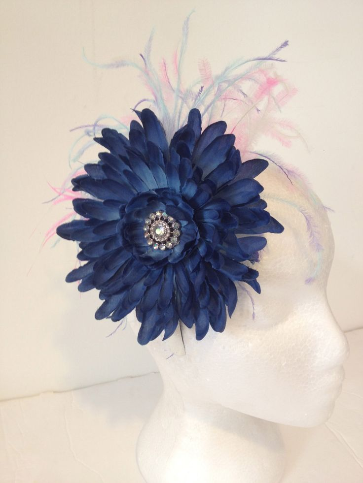 Back to School Navy Blue Flower Feather Headband Fascinator,Flower Headband,Dance Costume, Fancy Girl BoutiqueNYC Custom Designs by FancyGirlBoutiqueNYC on Etsy