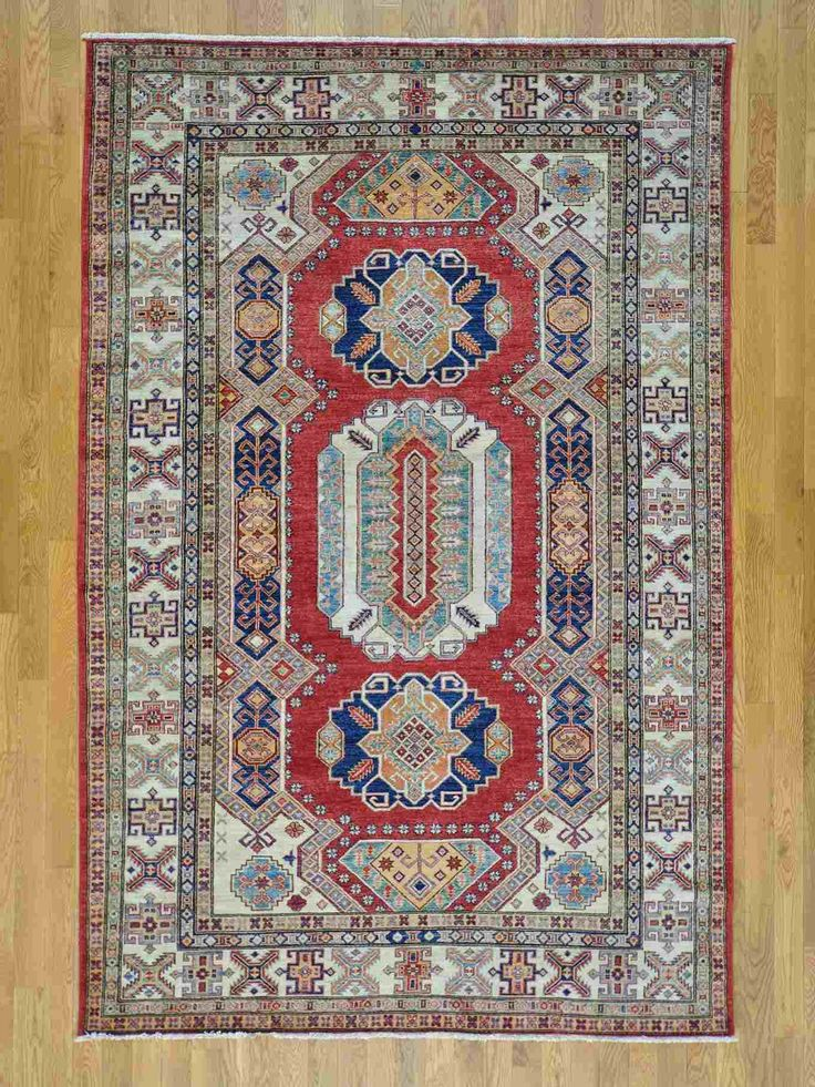 This One Of A Kind Colorful Tribal Rug In Ivory Red And Bright Blue Rugcustom Rugsoriental Rugstampa Bayprayer