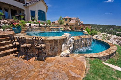 Love the bar stools backyard pinterest traditional for Country pool ideas