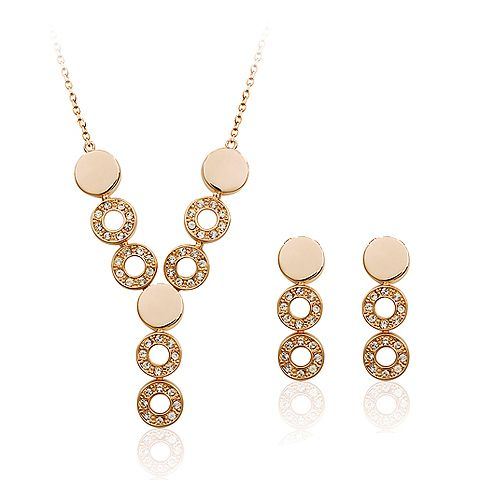 Элегантный круглый дизайн ожерелье и серьги комплект для очаровать женщин