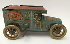 """Vintage 1917 Chein Tin Toy """"Fancy Groceries"""" Wind Up Delivery Truck"""