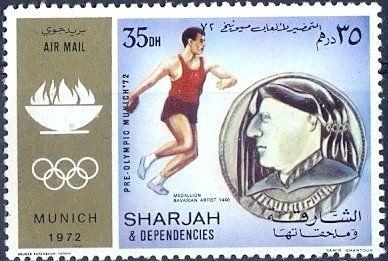 Stamp: Discus Throw (Sharjah) (Summer Olympics 1972, Munich) Mi:AE-SH 844A,Yt:AE-SH PA94-A