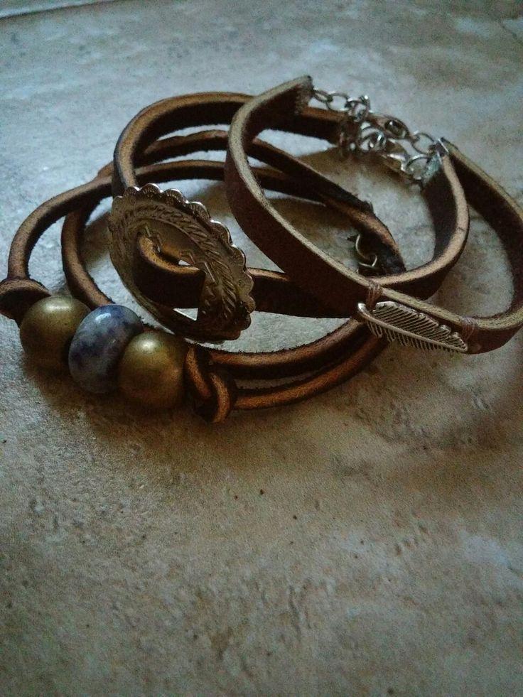 Handmade leather bracelets by jessica villarreal