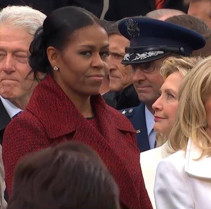 Michelle Obama may now be the former first lady, but on the Internet, she's being celebrated as the reigning shade queen, thanks to her facial expressions on Inauguration Day.