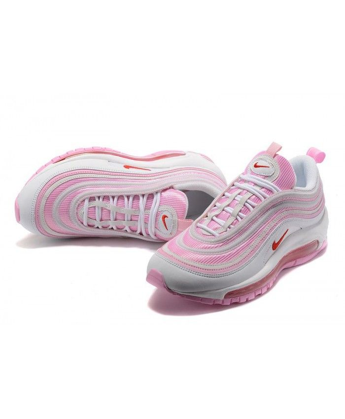separation shoes 0949a 104d0 Authentic Nike Air Max 97 White Red Flame Pink Trainers