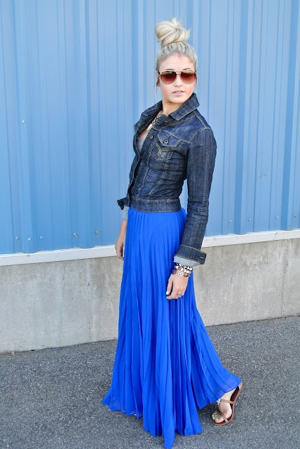 Love the skirt and the jacket. the royal blue goes well with the jean jacket