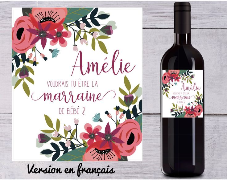 Godmother Wine label Stickers . godmother. New baby. french version available. proposal, Shower, Filofax or any Planner or Project life de la boutique BlueberryStationery sur Etsy