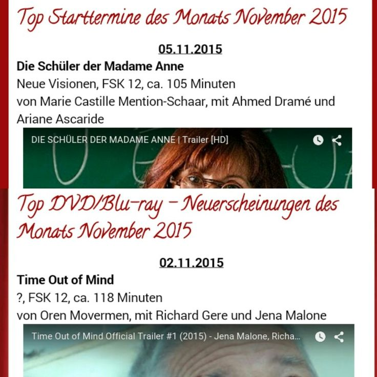 #Starttermine und #DVD / #Bluray - Neuerscheinungen für #November  Link in der Bio  #colddays #mockingjaypart2 #thehungergamesmockingjay #stevejobs #spectre