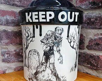 Zombie Treat jar, vaso di biscotto di Halloween, biscotto barile, ritto di supporto, extra-large di dipinti a mano, pentola cucina farina, strano meraviglioso