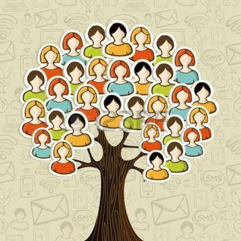 Sociální média sítě strom s ikonami lidmi listí na ikony vzor pozadí ilustrace vrstvené pro snadnou manipulaci a vlastní zbarvení photo