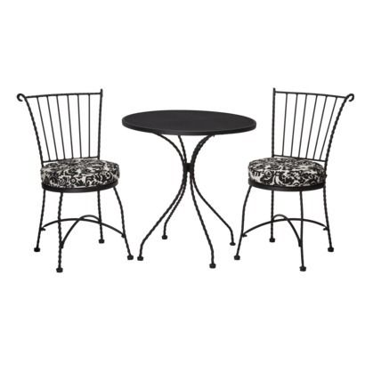 $130 @Target Piazza 3 Piece Wrought Iron Patio Bistro Furniture Set   Black  U0026