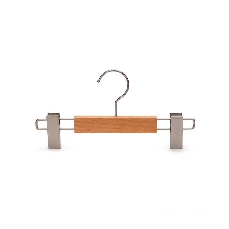 J.S. Hanger Beech Skirt Hangers Wooden Pants Hangers with Clamp (Pack of 5) (Natural Finish, 5-Pack), Brown