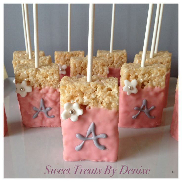 Rice Krispy treats with monogram for a child bathe....  Check out even more by clicking the image link